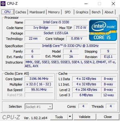 Bilgisayar Özellikleri Öğrenme uygulaması cpu-z