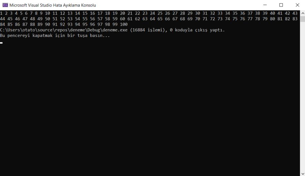 C++ dilinde yazılmış bir kodun output'u.