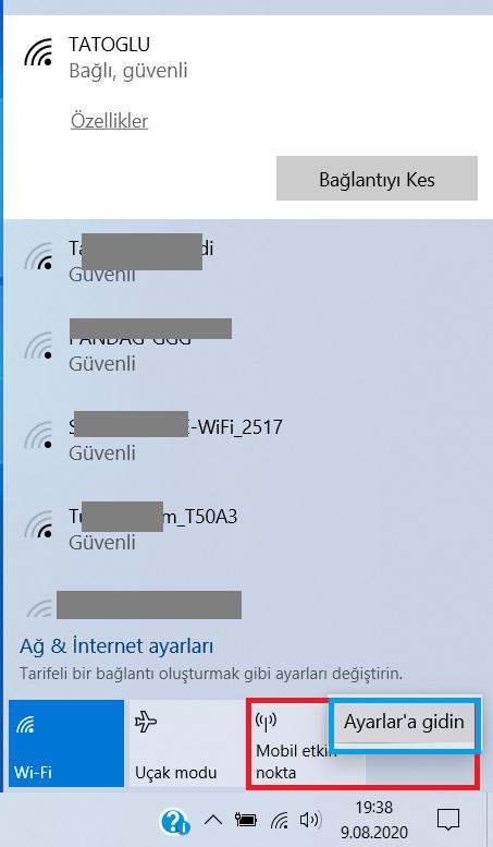 Bilgisayarı modem olarak kullanma