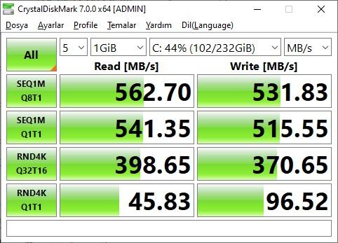 SSD OKUMA YAZMA HIZI ÖĞRENME CRYSTAL DİSK MARK
